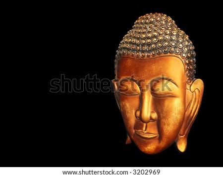 Burma (Myanmar) Buddha Bronze Right Profile - stock photo