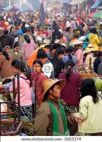 Burma (Myanmar). Kyaukme Early Morning Market - stock photo