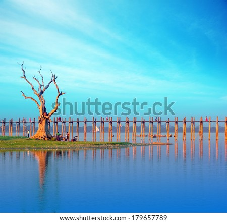 Burma Myanmar U Bein teak bridge. Mandalay travel tourist destination landmark  - stock photo