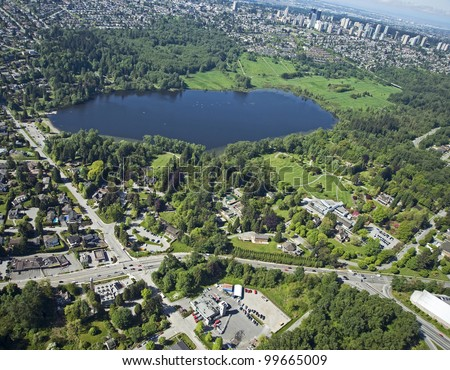 Burnaby Aerial - Deer Lake Park with lake and homes in Burnaby - stock photo