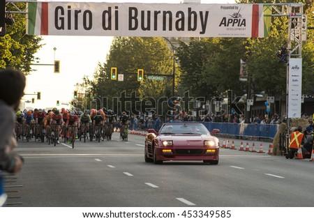 Burnaby, B.C., Canada - July 14, 2016 - Bicycle racers racing in the Giro Di Burnaby bike race in Burnaby, B.C., Canada on July 14, 2016 - stock photo