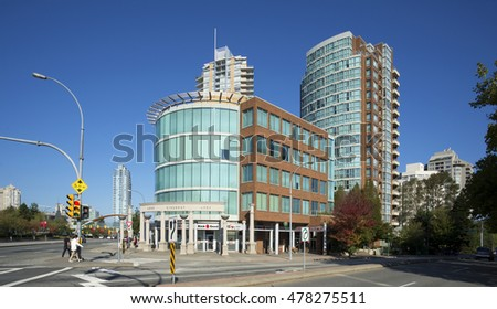 BURNABY, BC, CANADA - SEPT. 12, 2015: Area by Kingsway/Nelson intersection has been changed with new office and residential buildings. Metropolis at Metrotown is the largest mall in British Columbia.