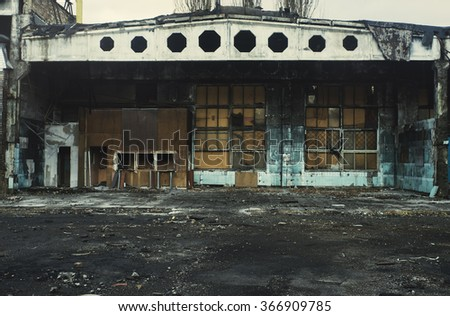 Burned abandoned industrial building.  - stock photo