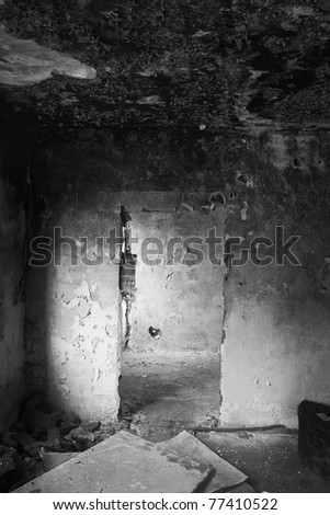 burned an empty room in the house devastated, black and white - stock photo