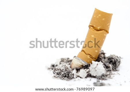 Burned cigarette isolated over white background. The last cigarette concept. - stock photo