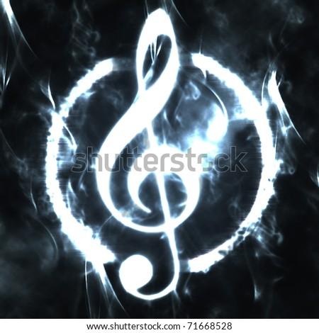 burned g-clef sign white black - stock photo