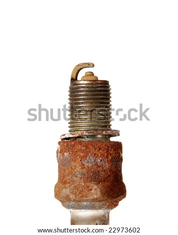 burned old spark plug isolated - stock photo