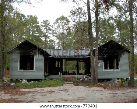 Burned Out House - stock photo