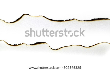 Burned paper isolated on white - stock photo
