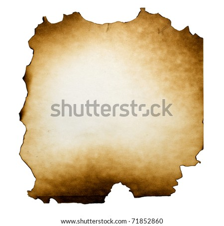 Burned paper on white background with clipping path - stock photo