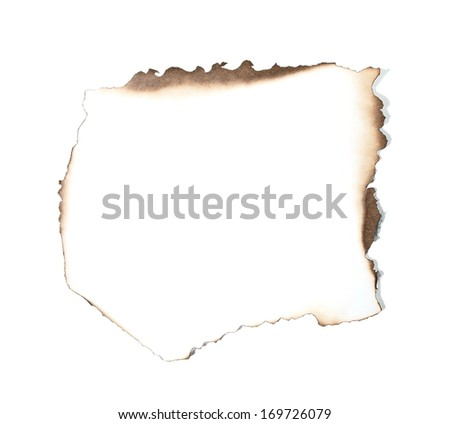 Burned paper with shadow on white background  (clipping path) - stock photo