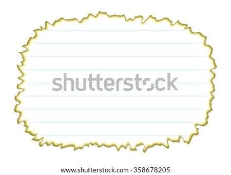 Burned Piece of White Paper with Lines Isolated on White Background Illustration