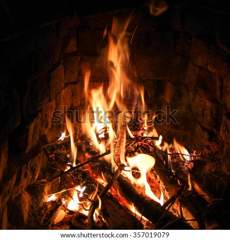Burning a fire in the fireplace - stock photo