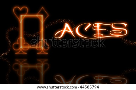Burning 4 aces symbol,text and stars - stock photo
