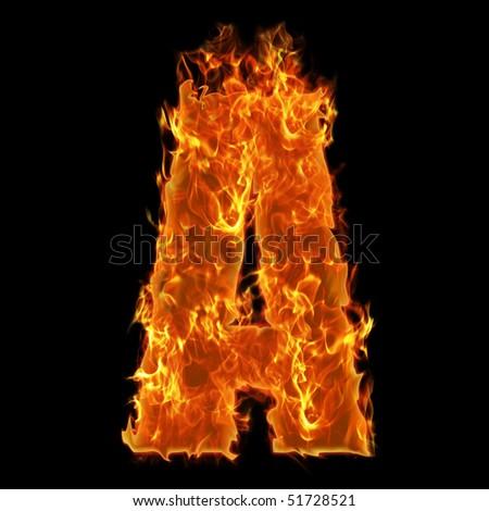 Burning Alphabet Letter A - stock photo