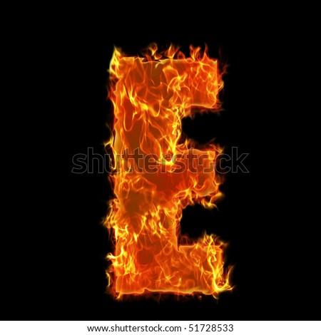 Burning Alphabet Letter E - stock photo