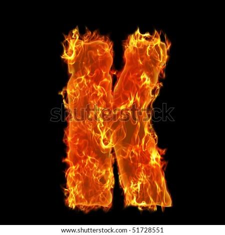Burning Alphabet Letter K - stock photo