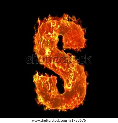 Burning Alphabet Letter S - stock photo