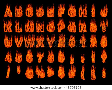 Burning alphabet letters and numbers isolated on black background. 3D illustration - stock photo