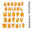Burning alphabet letters illustration isolated on white background - stock photo
