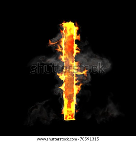Burning and flame font L letter over black background - stock photo