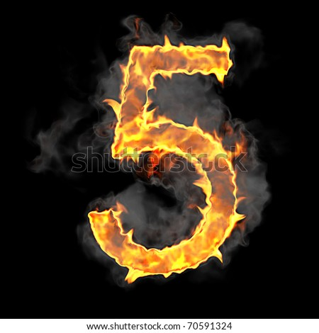 Burning and flame font 5 numeral over black background