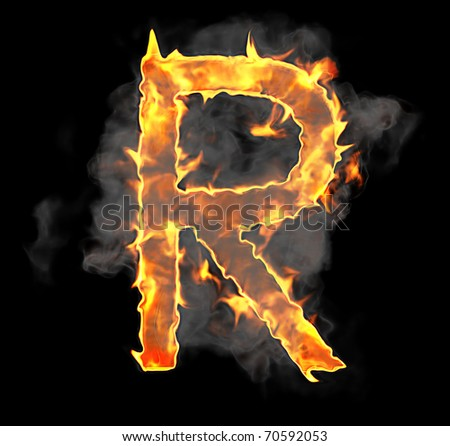 Burning and flame font R letter over black background - stock photo