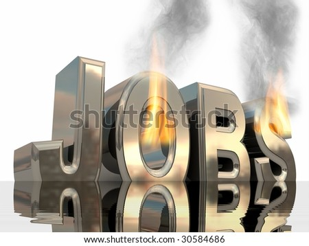 Burning and sinking word job in water surface over white as a result of the financial crisis.