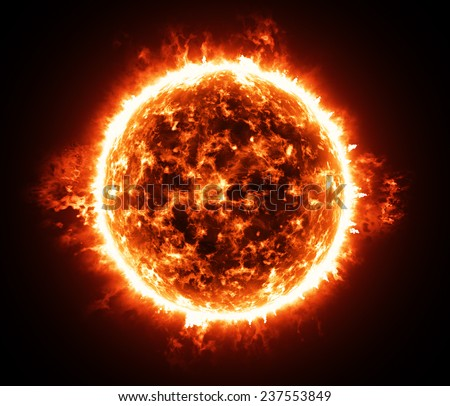 Burning atmosphere of red giant star - stock photo