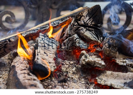 burning billets near the metal fence of the fireplace - stock photo