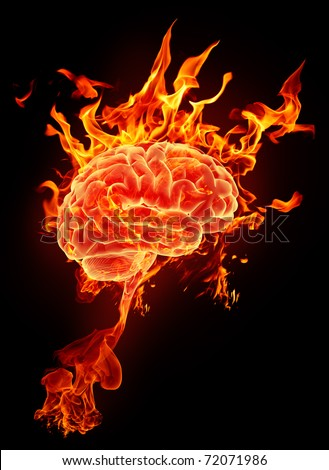 Burning brain in flames on a black background - stock photo