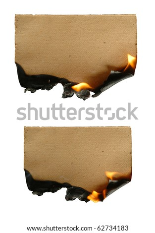 burning brown paper isolated - stock photo