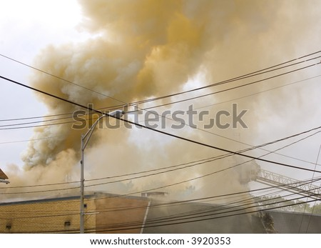 burning building - stock photo