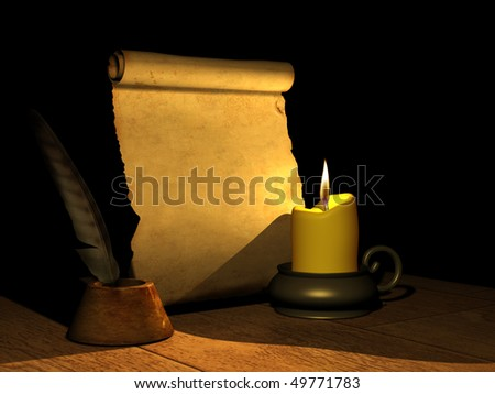 Burning candle and the ancient manuscript. 3d