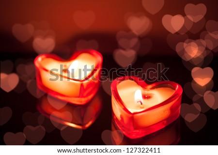 burning candle hearts - stock photo
