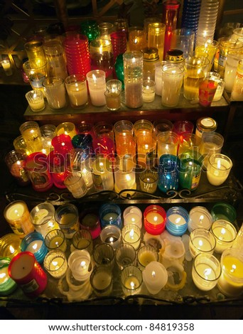 Burning candles in Cathedral in Oaxaca city, Mexico - stock photo