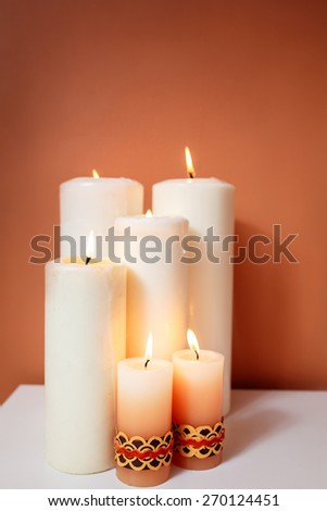 burning candles. spa treatments. - stock photo