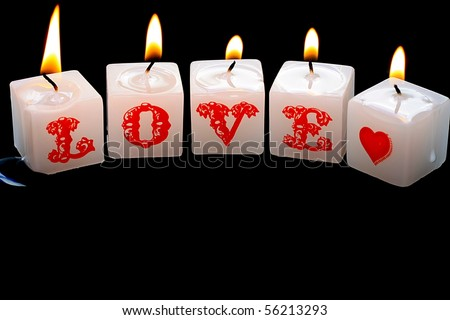 Burning Candles Spelling Love - stock photo