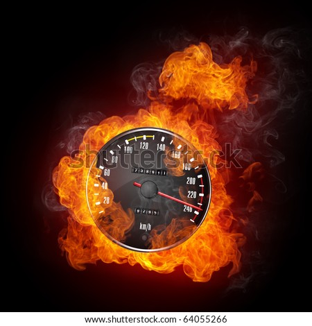 Burning car speedometer. Illustration of the speedometer enveloped in flame isolated on black background. High resolution speedometer in fire image for a car race poster. - stock photo