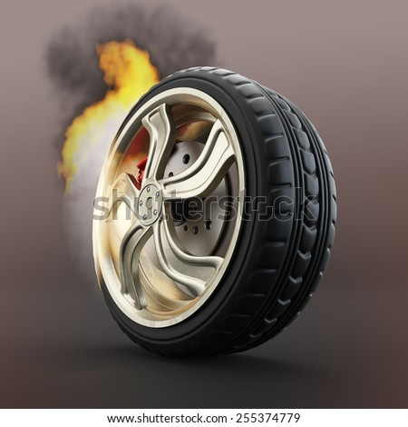 Burning car wheel over dark red background. 3d render - stock photo