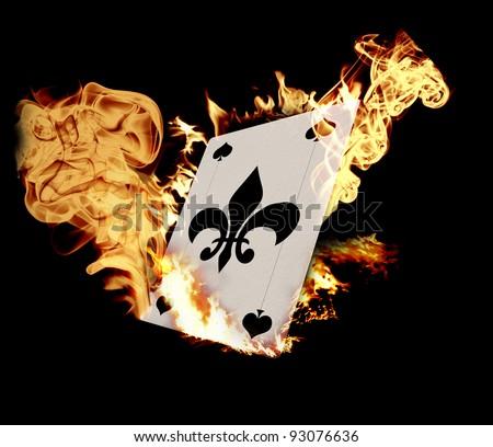 Burning Card illustration over black background - stock photo