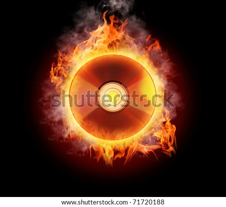 Burning CD - stock photo