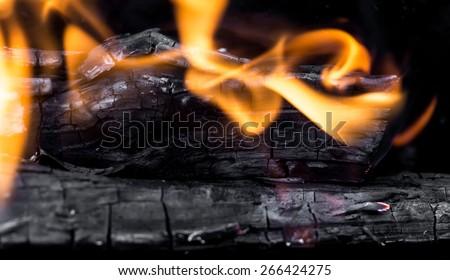burning charcoal as background - stock photo