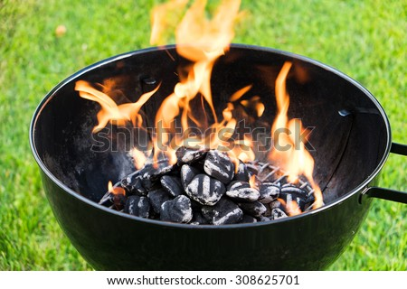 Burning charcoal in a grill. Close up on a lawn background.