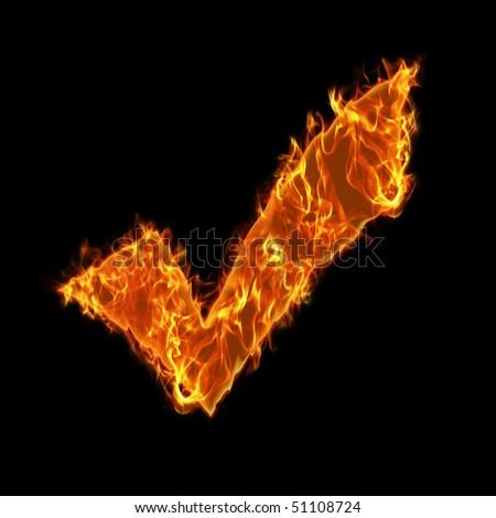 Burning check symbol - stock photo