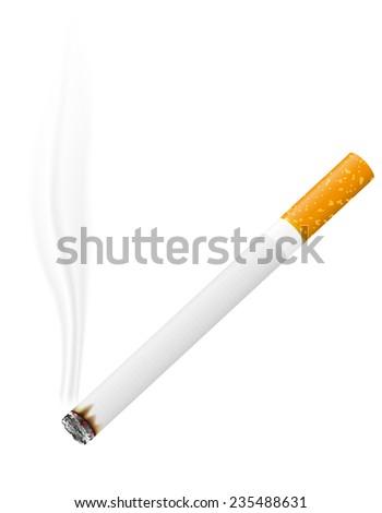 burning cigarette illustration isolated on white background - stock photo