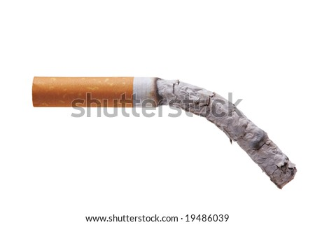 Burning cigarette isolated against white background - stock photo