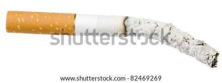 burning cigarette. Isolated over white background. - stock photo