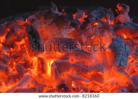 burning coal - stock photo