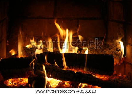Burning coals in a fireplace
